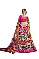 Viva N Diva Women's Beige, Blue And Pink Color Banglori Silk Printed Lehenga.