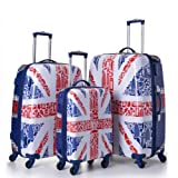 """5 Cities® Lightweight Hard shell Travel Luggage Suitcase- 4 Wheel Spinner Trolley Bag 21"""" Fits 55x40x20cm, 26"""" 63x48x28cm, 29"""" 73x56x32cm (5 Years Guarantee) (3 PCS SET 21/25/29, Great Britain Collection)"""