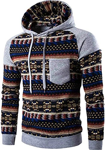 Men's Long Sleeves Fashion AZTEC Tribal Floral Hoodie Sweatshirt Pullover, Gray, US M(38) (Cool Printed Hoodies compare prices)