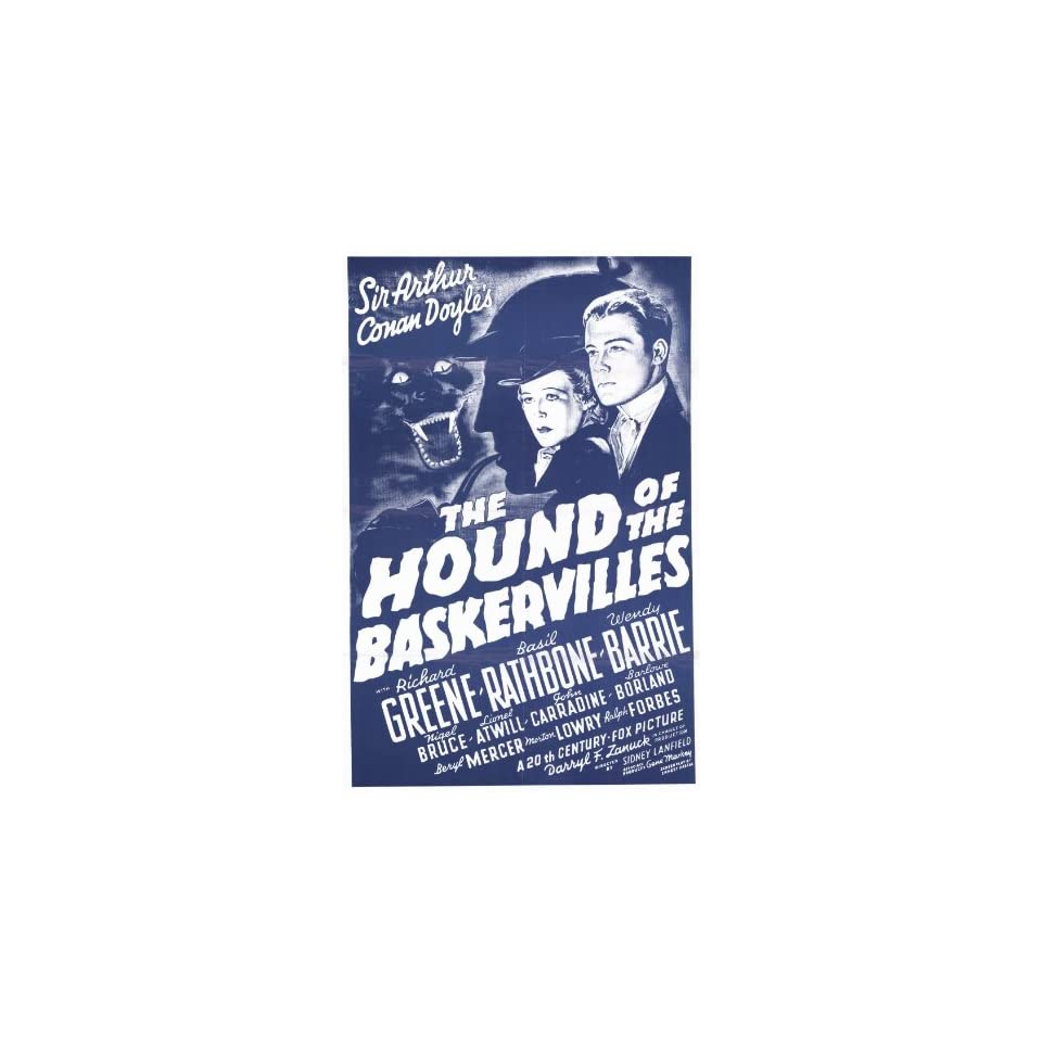 The Hound of The Baskervilles Movie Poster (11 x 17 Inches   28cm x 44cm) (1939) Style D  (Basil Rathbone)(Nigel Bruce)(Richard Greene)(John Carradine)(Wendy Barrie)(Lionel Atwill)