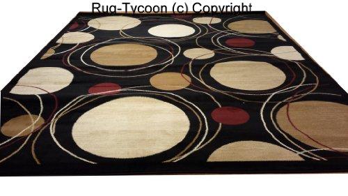 D606 Contemporary Modern Dot Circular Pattern Black 5x8 Actual Size 5'3x7'2 Rug