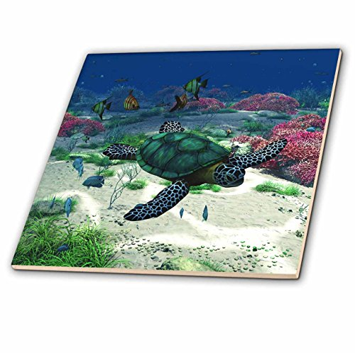 Simone Gatterwe Designs Sea Life - Sea turtle swims through the ocean with tropic fishes corals and more - 12 Inch Ceramic Tile (ct_172910_4)