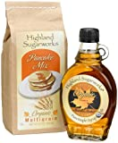 Highland Sugarworks Medium Amber Organic Maple Syrup; 8-Ounce Jug & Organic Multi-Grain Pancake Mix;