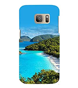 printtech Nature View Beach Lagoon Back Case Cover for Samsung Galaxy S7 edge / Samsung Galaxy S7 edge Duos with dual-SIM card slots