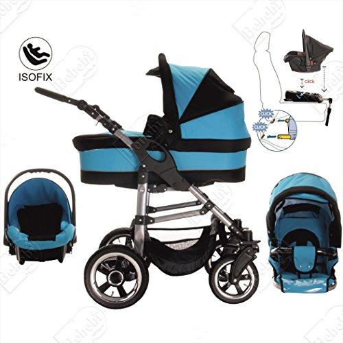 bebebi | modello London | & Base Isofix Seggiolino Auto | 3in 1passeggino set | gomma rigida pneumatici