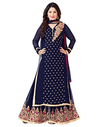 Angel,Heena Khan Blue colour Semi-Stiched Salwar suits