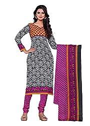 Woman's Purple Cotton Printed Dress Materials(BG207m)