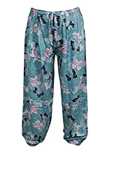 Indiatrendzs Women's Rayon Pajama Printed Blue Yoga Pant Evening Wear Harem Pants Free Size