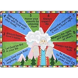 Faith Based Ten Commandments Kids Rug Rug Size: Oval 3\'10\