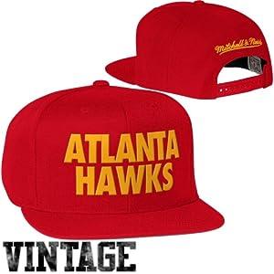 Mitchell & Ness Atlanta Hawks Hardwood Classics Title Snapback Hat - Red by Mitchell & Ness