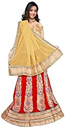 Jay Ambe Creation Women's Viscose Unstitched Lehenga Choli (dno132e, Red & Cr...