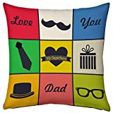 Superhero Dad Printed Colourful Texts Cushion For Dad Papa Birthday Anniversary