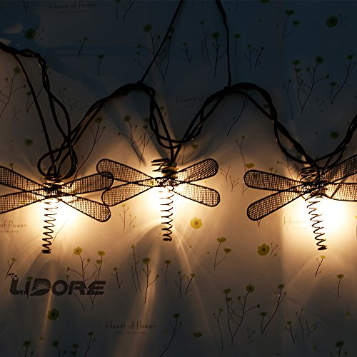 LIDORE Set of 10 Metal Dragonfly Patio String Light. Ideal For Indoor/Outdoor Decoration. Warm White Glow. 4