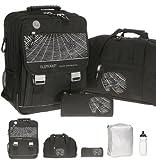 5 Teile SET: ELEPHANT SELECT Schulrucksack + Sporttasche + Mäppchen + Regenüberzug + Trinkflasche | SPIDER WEB / Schwarz mit Spinne