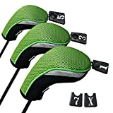 Andux ゴルフ ウッドドライバー ヘッドカバー 交換可能な番号タグ付き 3個セット (ブラック/グリーン)