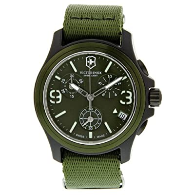 Victorinox Swiss Army Green Dial Green Textile Chronograph Men's Watch 241531
