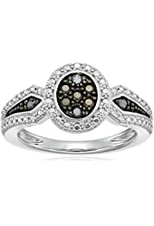 Sterling Silver 1/10cttw Black Diamond Ring, Size 7