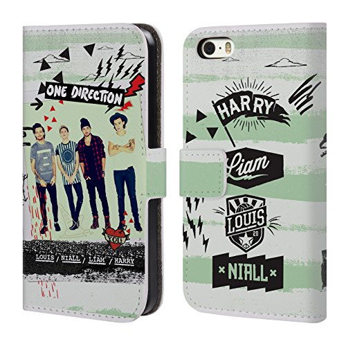 Official One Direction Green Stripe Midnight Memories Shots Group Leather Book Wallet Case Cover For Apple iPhone 5 / 5s / SE (Iphone 5 S Case One Direction compare prices)