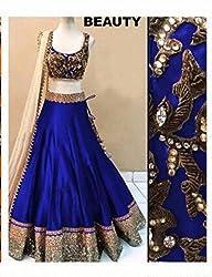 Khazanakart Designer Blue Color Net Fabric Un-stitched Lehenga Choli With Chiffon Dupatta Material.