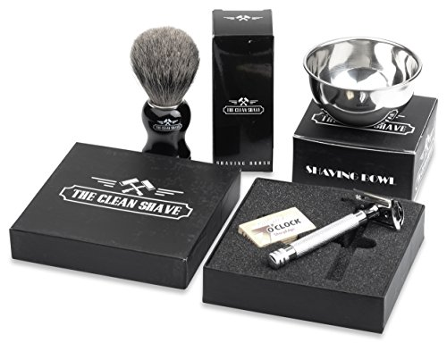The Clean Shave Complete Wet Shaving Set | Bundle Includes 3 Items: One Executive Safety Razor, One Best Badger Hair Shaving Brush, and One Stainless Steel Lather Bowl (Mens Wet Shave compare prices)