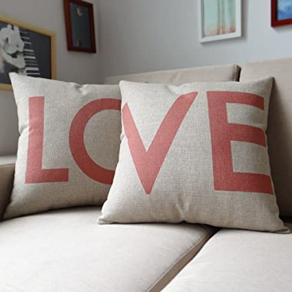 Ojia Cotton Linen Decorative Pillow Cover--Love
