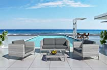 Big Sale Harmonia Living Ibis 4 Piece Wicker Outdoor Couch Set with Gray Sunbrella Cushions (SKU HL-IBIS-4SS-CC)