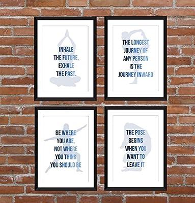 Set von 4 Yoga Inspirierend Zitate A5 / A4 / A3 / 5 x 7/8 x 10 Typografie Drucke