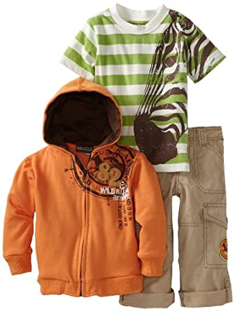 Nannette Boys 2-7 3 Piece Stripe Zebra French Terry Jacket Set, Open Orange, 2T