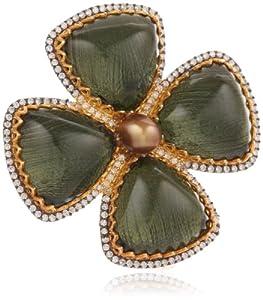 Azaara London Blue Crystal Flower Ring, Size 6