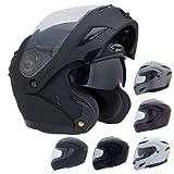GMax Helmets - GMax GM54S Modular Motorcycle Helmet with Inner Sun Visor Solid Gloss Black