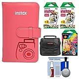Fujifilm Instax Mini Wallet 108 Photo Album (Raspberry) with 40 Color Prints & 10 Rainbow Prints + Case + Kit for 7S, 8, 25, 50S, 90 Cameras