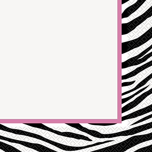 Zebra Stripes 80s Style Paper Napkins, Pack of 16