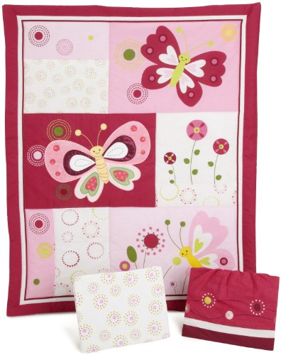 Bedtime Originals Pink Butterfly 3 Piece Crib Bedding Set, Magenta/White - 1