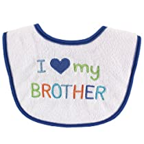 Luvable Friends I Love My Brother and Sister Applique Baby Bib, Baby Boy Loves Brother