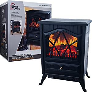 Warm House 80-40608 Warm House Retro Floor Standing Electric Fireplace
