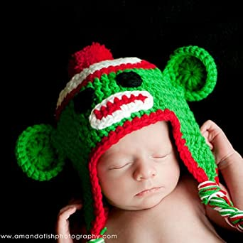 Sock Monkey Crochet Baby Hat Holiday Beanie: Sun Hats: Clothing