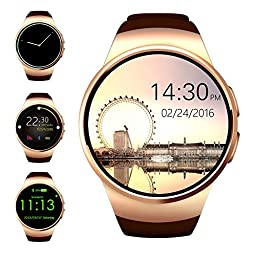 Bluetooth Smart Watch,Evershop 1.3 inches IPS Round Touch Screen Water Resistant Smartwatch Phone with SIM Card Slot,Sleep Monitor,Heart Rate Monitor and Pedometer for IOS and Android Device (Gold)