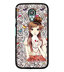 PrintDhaba Cute Girl D-1098 Back Case Cover for MOTOROLA MOTO G2 (Multi-Coloured)