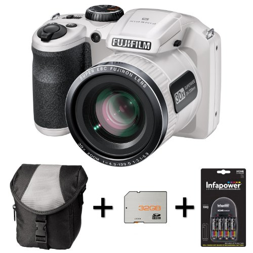 Fujifilm FinePix S4800 - White + Case + 32GB Memory + 4 AA Batteries and Charger (16 MP Black Friday & Cyber Monday 2014