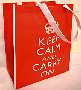 Keep Calm And Carry On Red Reusable Tote Shopping School Bag by Leonardo