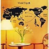 UberLyfe World Trip Map Wall Sticker (Wall Covering Area: 80cm x 140cm)