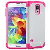 Fosmon HYBO-DUOC Slim Fit Dual-Layer Hybrid Case for Samsung Galaxy S5 (Pink and White)