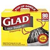 "GLAD 70313 Drawstring Outdoor 30-Gallon Trash Bags, 1.1 Mil, 30"" x 33"", Black (Pack of 90)"