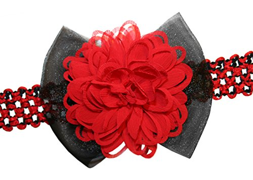 Webb Direct 2U Baby-Girls Large Red & Black Flower Cheer Hair Bow Headband 8024