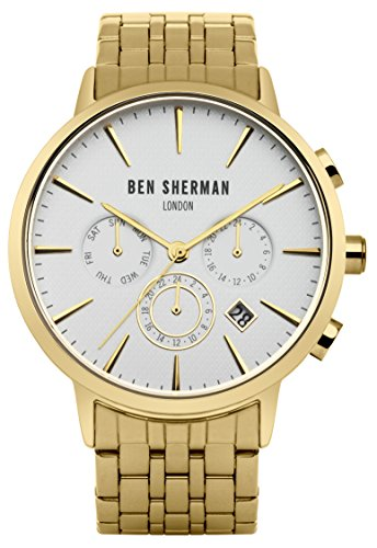 Ben Sherman Men's Quartz Watch with White Dial Analogue Display and Gold Stainless Steel Bracelet WB028GM