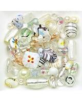 Mélange perles de verre 6 à 28mm blanc