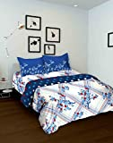 Tomatillo Floral 4 Piece Cotton Double Bedding Set - White and Blue