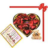 Skylofts Stylish Heart Chocolate Box With Teddy And A Birthday Greeting Card Combo Gift