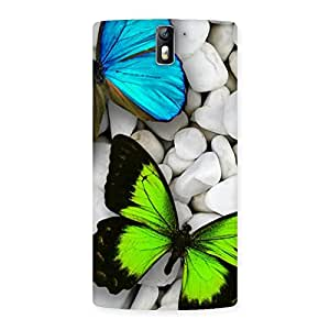 Delighted Butterflies Green Blue Back Case Cover for One Plus One