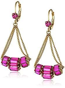 """Betsey Johnson """"Iconic Baguette"""" Fuchsia Crystal Baguette Chandelier Drop Earrings"""